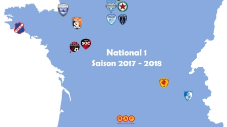 La carte de France du championnat National 1