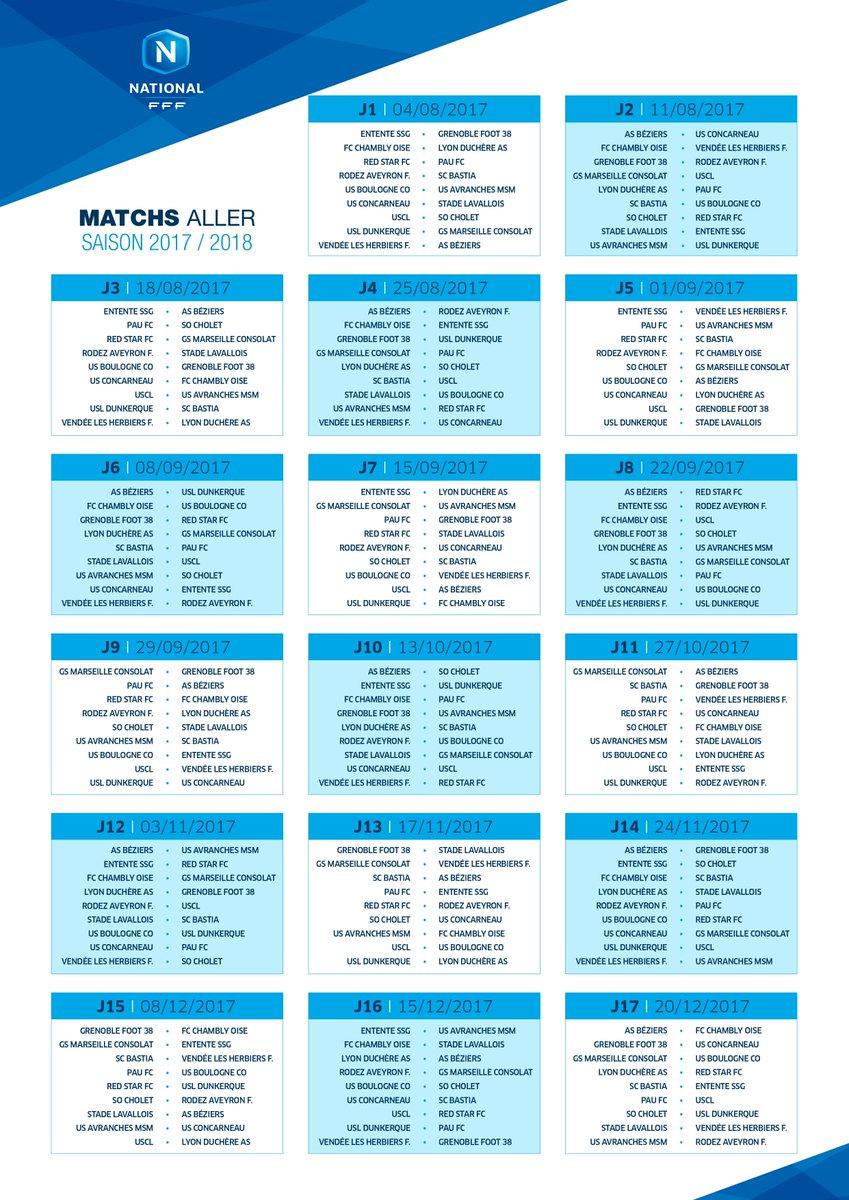 Le calendrier complet du National 1 pour la saison 2017-2018