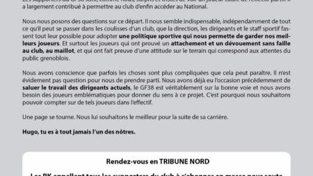 #Communiqué Le RK94 s'exprime sur le départ d'Hugo Cianci