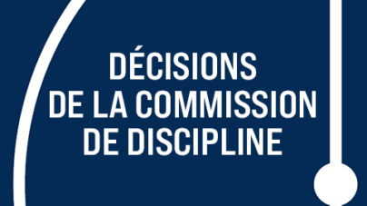 [Discipline] Les décisions du 25 novembre 2020