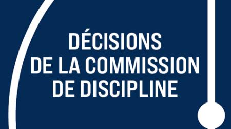 [Discipline] Les décisions du 14 avril 2021